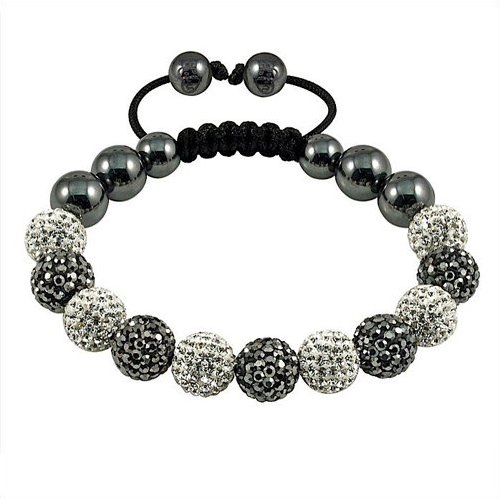Black and White Swarovski Shamballa